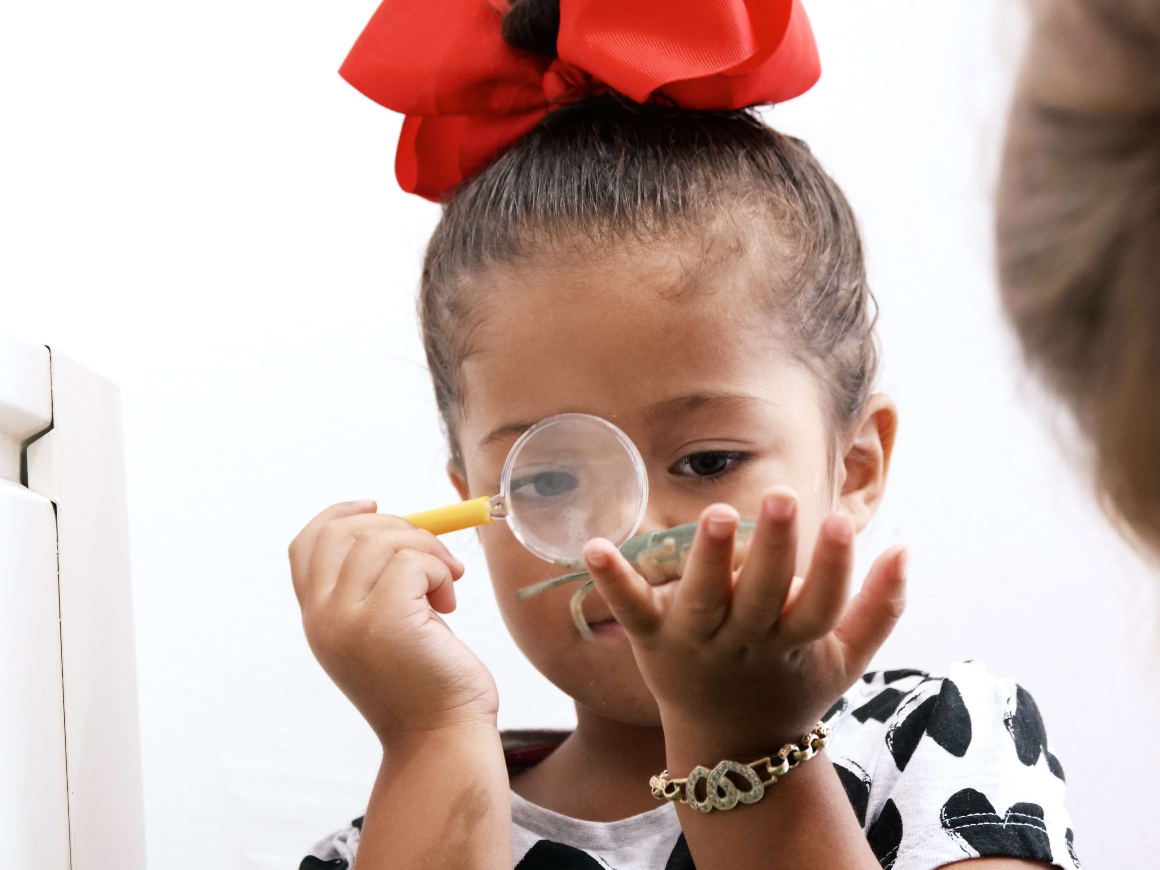 girl using a magnifying glass at a children's day nursery